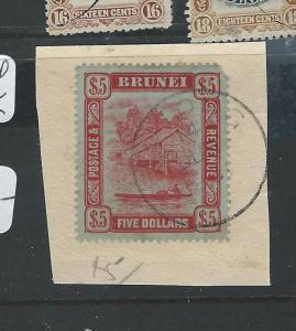 BRUNEI (B0910) $5.00 SG 47 CDS USED ON PECE UR CORNER ROUNDED  RARE