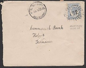 QUEENSLAND 1905 2d on cover 152 cancel of MOUNT PERRY to Tasmania...........K292