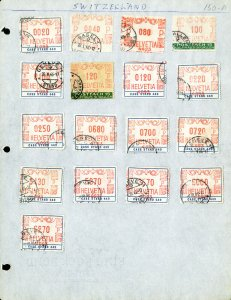 Switzerland Lot Of 17 Different Early Revenue Stamps