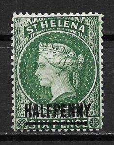 1884 St Helena 33a Queen Victoria Half Penny unused with hinge remnant