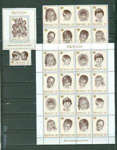 RWANDA 1979 CHILDREN #923-25 ....BLK + SOUV. SHEET + CPLT SHEET MNH...$37.50