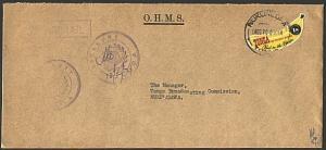 TONGA 1970 local OHMS cover 1s banana  : Treasury..........................93592