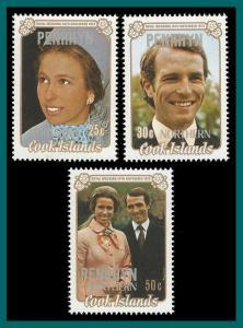 Penrhyn Island 1973 Royal Wedding, MNH #47-49,SG53-SG55