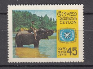 J27842 1967 ceylon set of 1 mnh #409 elephant