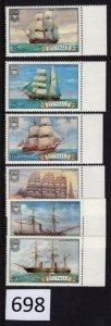 $1 World MNH Stamps (698), Tuvalu, #142-5 Ships, set of 6