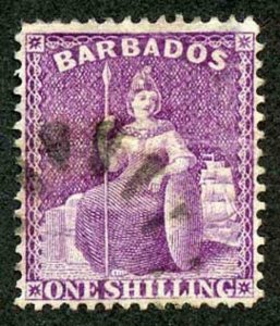 Barbados SG82 1/- Violet (aniline) perf 14 wmk Crown CC Used Cat 40 pounds