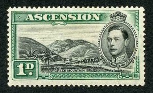 Ascension SG39 KGVI 1d Black and Green M/M (part gum) Cat 42 pounds