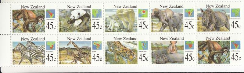 New Zealand 1994 MNH #1227//#1236 Block of 10 Wild Animals