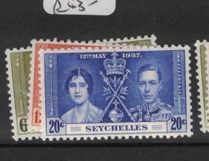 Seychelles Coronation SG 152-4 MNH (5dtf)