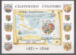 St. Vincent 1988 Christopher Columbus Discovery of America Ships perf. sheet ...