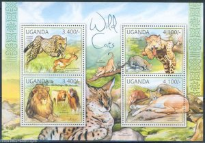 Uganda MNH S/S Lions Cheetahs Wild Cats 2012 4 Stamps