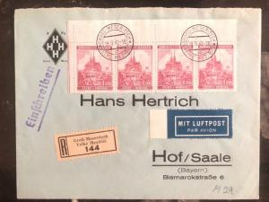 1942 Meseritsch Bohemia Germany Registered Express Cover To Hof Saale Germany