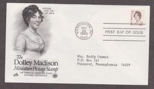 1822 Dolley Madison ArtCraft FDC with neatly typewritten address