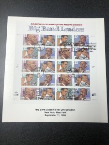 US 3096-99 Big Band Leaders First Day Souvenir Page Of 20 Canceled 1996