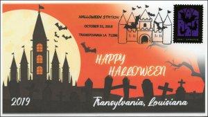 19-268, 2019, Halloween, Pictorial Postmark, Event Cover, Transylvania LA,