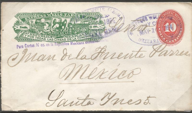 M) 1887, MEXICO, EXPRESS WELLS FARGO, POSTAL STATIONARY, SECOND NUMERAL, TWO CAN