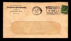 Canada 1927 Quaker Oats Advert / Coil / Sask. / Small Top Tear - L12246