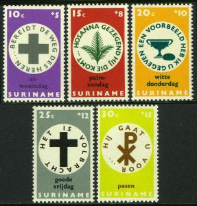 Surinam B142-B146,MI 533-537,MNH. Easter charities.Palms,Cross,Good Friday, 1968