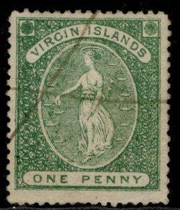 BRITISH VIRGIN ISLANDS QV SG9, 1d blue-green, USED.