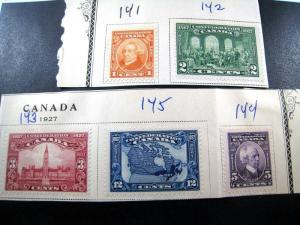 CANADA - SCOTT # 141-145   -   Used on Paper                  (can-19)
