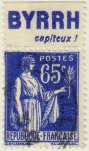 FRANCE - 1937 Pub BYRRH (capiteux!) supérieure sur Yv.365b 65c Paix Obl. TB