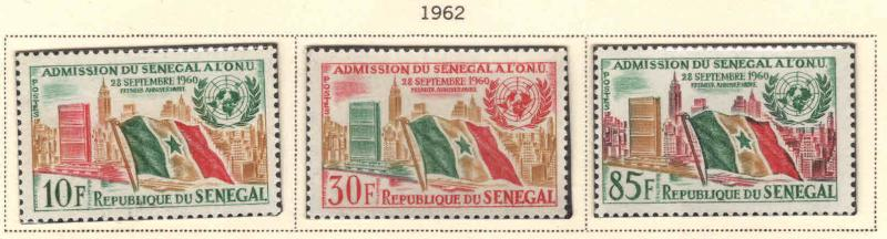 Senegal Scott 207-209 MNH** UN, Flag stamp set 1962