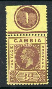 Gambia 1912 KGV 3d on lemon wmk MCCA SG 92a mint