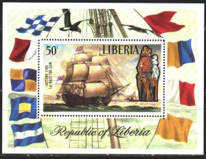 Liberia. 1972. bl 62. Flags, seagull, sailboat. MVLH.