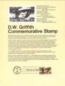 US SP359 D W Griffith 1555 Souvenir Page FDC