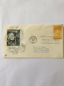 1948 Gold Star Mothers 3c First day cover. Washington DC post mark to Fresno.