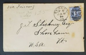 1896 Sydney Australia to Shoreham Vermont USA from Hotel Metropole Vintage Cover