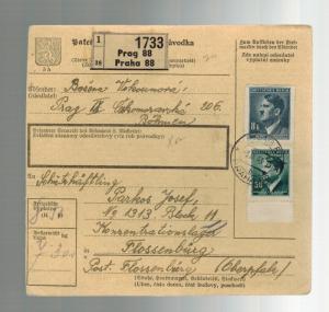 1943 Prague BM Germany Parcel Cover to Flossenburg Concentration Camp J Parkos