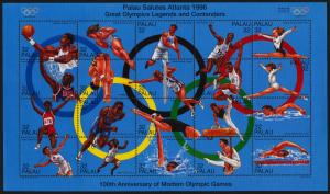 Palau 401 MNH Olympic Sports, Gymnastics, Athletrics, Basketball, Swimming (cr)