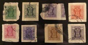 India Sccott#O189-O196 VF Used  Cat. $7.50