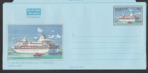 BARBADOS 65c Cruise liner 'Windward'  aerogramme unused........ ............K270