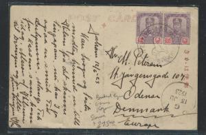 MALAYA JOHORE (PP2508B)PPC 4CX2 1923 BRITISH EMPIRE EXHIBITION CANCEL TO DENMARK