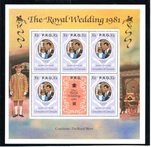 GRENADINES 1981 ROYAL WEDDING 30c M/SHEET WITH RPG OVERPRINT