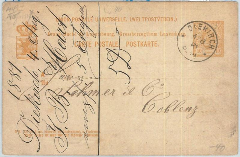 70013 - LUXEMBOURG - POSTAL HISTORY - P40  Stationery Card from DIEKIRCH 1881