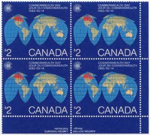 Canada - 1983 $2 Commonwealth Imprint Block mint #977