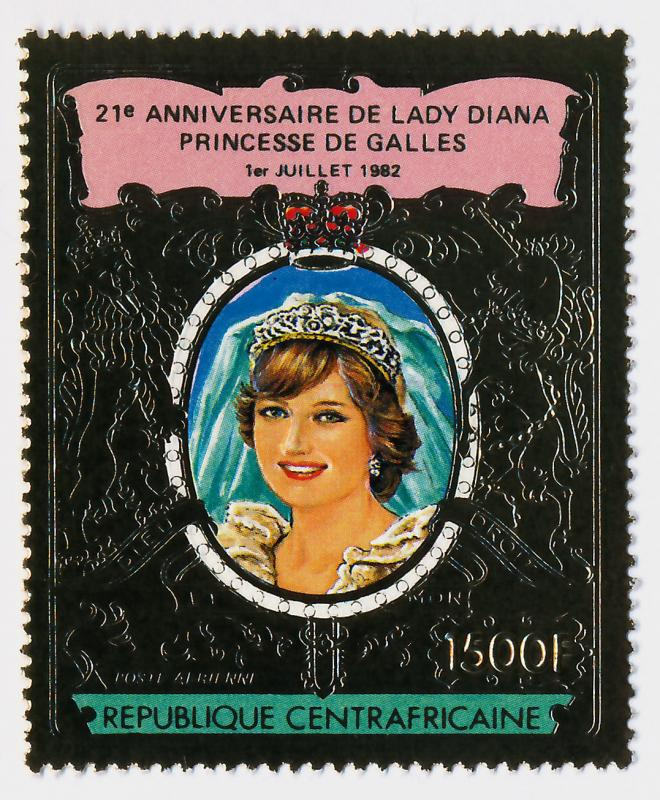 Central African Republic Gold Foil C274a MNH Princess Diana 21st Birthday