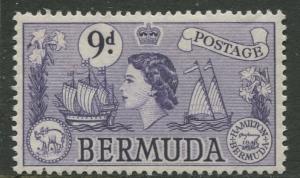 Bermuda - Scott 154 - QEII Definitive -1953 - MNH - Single - 9p Stamp