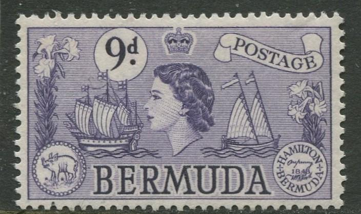 Bermuda - Scott 154 - QEII Definitive -1953 - MNH - Single - 9p Stamp