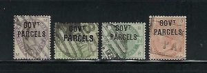 GREAT BRITAIN SCOTT #O27-O30 1883-86 GOVERNMENT PARCELS OVERPRINT- USED