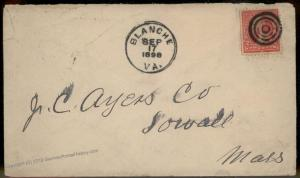 Virginia 1898 Blanche VA Cancel DPO Helbock R6 Cover Lowell MA 92279