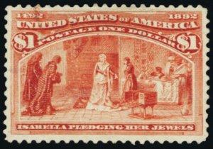241, Mint OG $1 Columbian Nice Appearing Stamp Cat $1000.00 -- Stuart Katz