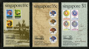 SINGAPORE 423-5 MNH SCV $2.40 BIN $1.25 STAMP ON STAMP