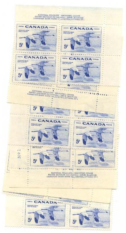 Canada USC #353 Mint Matched Set Plate 1 & 2 1955 5c Whooping Crane - VF-NH