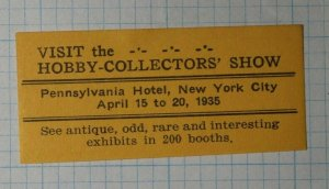 Hobby Collectors Show NYC 1935 Company Brand Ad Poster Stamp