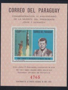 Paraguay # C317, John F. Kennedy, Saturn Rocket, perf, NH, 1/2 Cat.