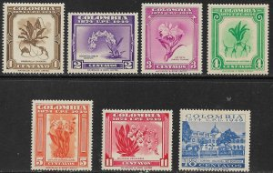 COLOMBIA 1950 Complete UPU FLOWERS Set Sc 580-586 MH